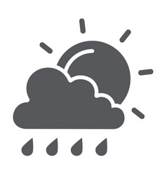 sun and rain glyph icon weather and forecast vector image