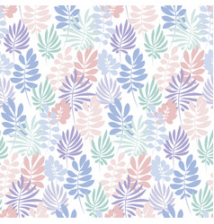 Tender violet and rosy color tropical leaves vector