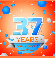 Thirty seven years anniversary celebration vector