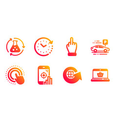 Time change world globe and middle finger icons vector