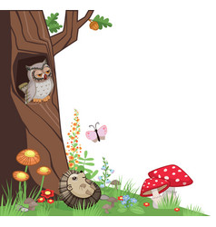 tree corner owl hedgehog mushrooms vector image