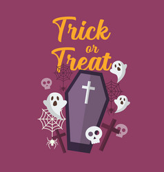 trick or treat with ghost and coffin vector image