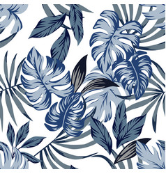 Tropical blue leaves seamless background vector