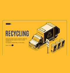 waste recycling isometric landing page vector image