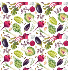 Watercolor vegetable pattern vector