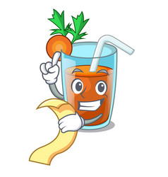 with menu fresh smoothie carrot in cartoon table vector image