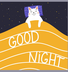 with stars white cat sleeping under yellow vector image