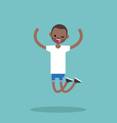 Young winking jumping black guy flat editable vector