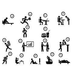 black businessman time management concept icons vector image vector image