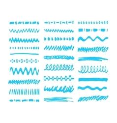 Blue Marker strokes set vector image vector image