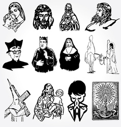 catholic silhouettes vector image vector image