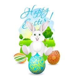 Easter Card with Landscape Rabbit and Decorated E vector image vector image
