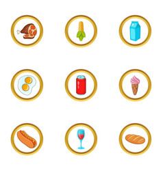 food and drink icons set cartoon style vector image vector image