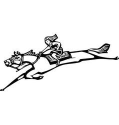 Girl riding horse vector