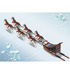 Isometric sled dogs in Rear View on Ice vector image vector image