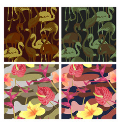 military seamless pattern set with tropical birds vector image vector image