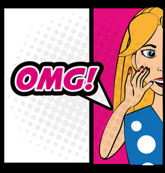 pop art woman omg comic expression vector image