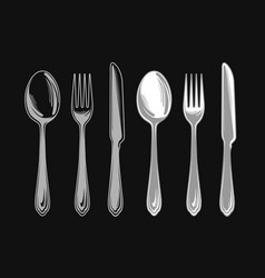 set of fork spoon and knife cutlery tableware vector image vector image