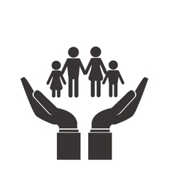Shelter hand with family icon vector