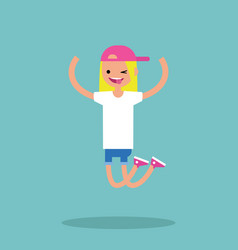 Young winking jumping girl flat editable vector