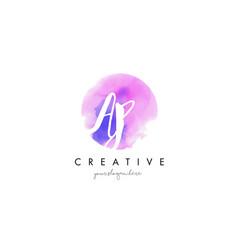 ap watercolor letter logo design with purple vector image vector image