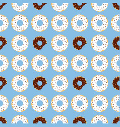 dark and withe chocolate donuts with blue vector image