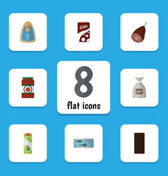 Flat icon food set of canned chicken ketchup vector