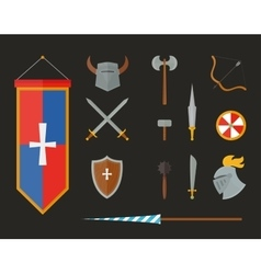 Knight armour with helmet chest plate shield and vector image