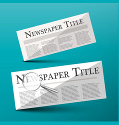 newspapers with newspaper title headline and vector image