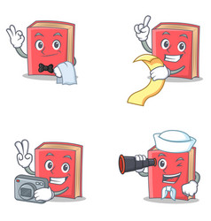 Set of red book character with waiter menu photo vector
