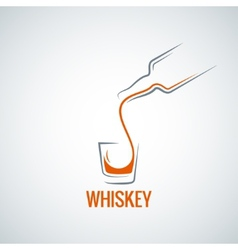 Whiskey glass bottle shot splash background vector