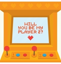 Will you be my player two Arcade machine vector image