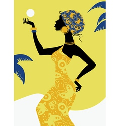 African girl silhouette vector image