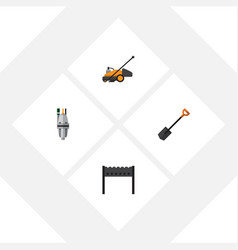 Flat icon garden set of lawn mower barbecue vector