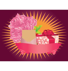 Gift box and roses vector image vector image