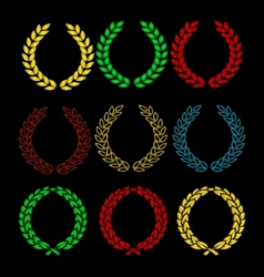 gold and colored wreath sign set isolated vector image vector image