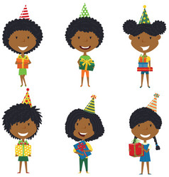 happy beautiful african-american girls carrying vector image