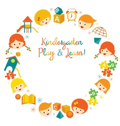 Kindergarten Preschool Kids Wreath vector image vector image