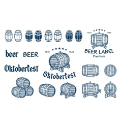 set of barrels in vintage style Collection vector image vector image