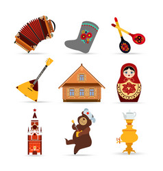 Set of Russia travel colorful isolated flat icons vector image vector image