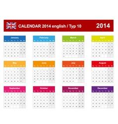 Calendar 2014 English Type 10 vector image vector image