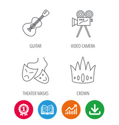 crown guitar music and theater masks icons vector image