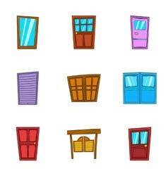 Front door icons set cartoon style vector