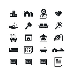 real estate icons on white background vector image