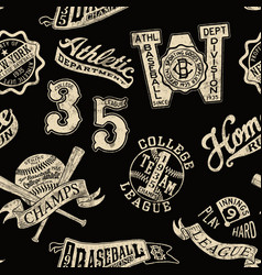 vintage baseball badges and prints wallpaper vector image vector image