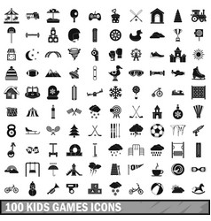 100 kids games icons set simple style vector image
