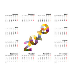 2019 calendar templatestarts mondayyearly vector