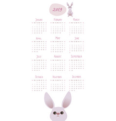 2019 cartoon style childish calendar bunny and vector image