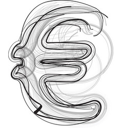 Abstract doodle euro symbol vector