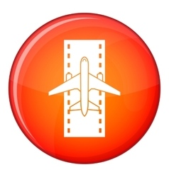 Airplane on the runway icon flat style vector